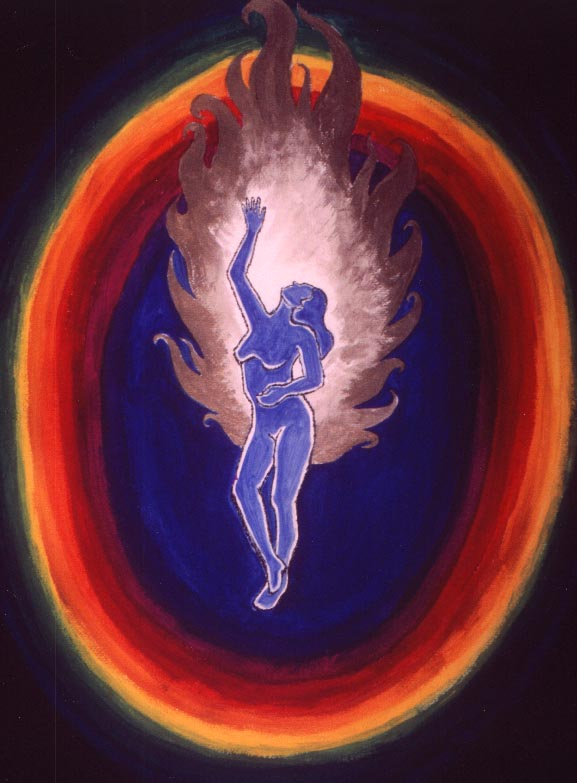 Fire Dancer -  Dancing Figure Experiencing the Inner Spiritual White Fire